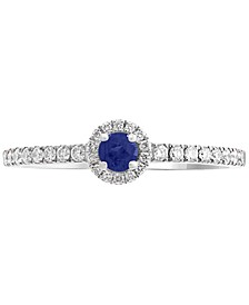 EFFY® Sapphire (1/8 ct. t.w.) & Diamond (1/5 ct. t.w.) Ring in 14k White Gold
