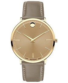 Movado Men's Swiss Ultra Slim Taupe Leather Strap Watch 40mm
