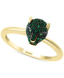 EFFY® Emerald (1/4 ct. t.w.) and Tsavorite Accent Panther Ring in 14k Gold