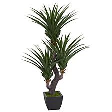 6' Dracaena Artificial Plant w/Black Planter