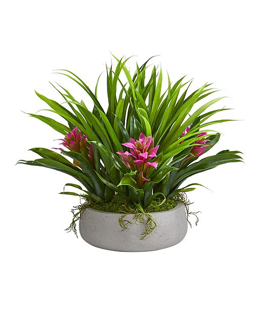 """Nearly Natural 16"""" Bromeliad and Grass Artificial Plant in Ceramic Vase"""