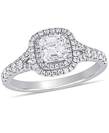 Certified Diamond (1-1/5 ct. t.w.) Asscher-Shape Double Halo Split Shank Engagement Ring in 14k White Gold