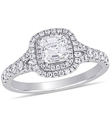 Certified Diamond (1-1/5 ct. t.w.) Asscher-Shape Double Halo Split Shank Engagement Ring in 14k White Gold