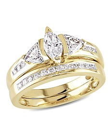 Certified Diamond (1 ct. t.w.) Marquise and Trillion-Shape Bridal Set in 14k Yellow Gold