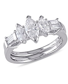 Certified Diamond (1-1/4 ct. t.w.) Marquise-Shape 3-Stone Bridal Set in 14k White Gold