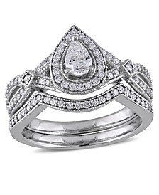 Certified Diamond  (5/8 ct. t.w.) Pear-Shape Vintage Halo Bridal Set in 14k White Gold