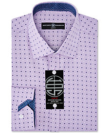 Society of Threads Men's Slim-Fit Non-Iron Performance Four-Way Stretch Squared Dot Dress Shirt
