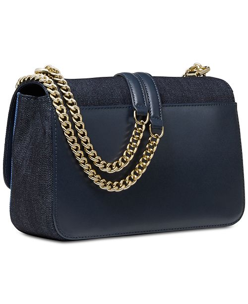 06b3a1e16d35 Michael Kors Denim Sloan Chain Shoulder Bag