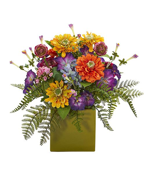 Nearly Natural Mixed Floral Artificial Arrangement in Green Vase