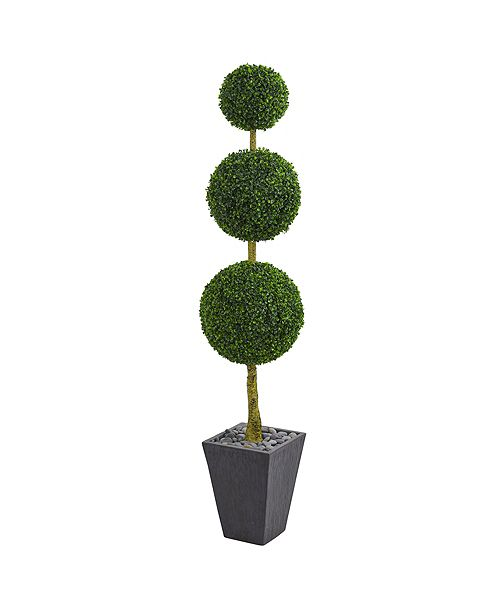 Nearly Natural 6' Boxwood Triple Ball Topiary Artificial Tree in Slate Planter UV Resistant