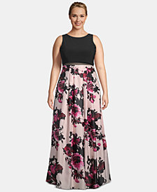 Betsy & Adam Plus Size Popover Floral-Skirt Gown