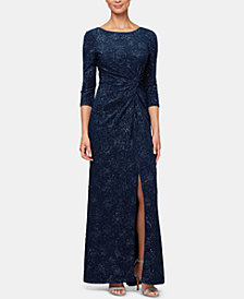Alex Evenings Petite Twisted Glitter Gown