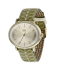 Orla Kiely Watch, Green Leather Strap With Buckle Closure