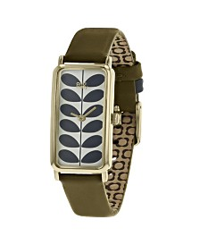 Orla Kiely Watch, Olive Leather Strap With Buckle Closure