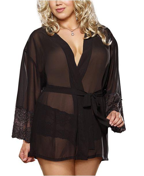 Dreamgirl Plus Size Chiffon & Lace Sleeve Robe Set