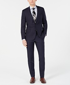 HUGO by Hugo Boss Men's Modern-Fit Wool Navy Plaid Suit Separates