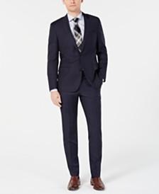 HUGO by Hugo Boss Men's Modern-Fit Wool Navy Plaid Suit Separates