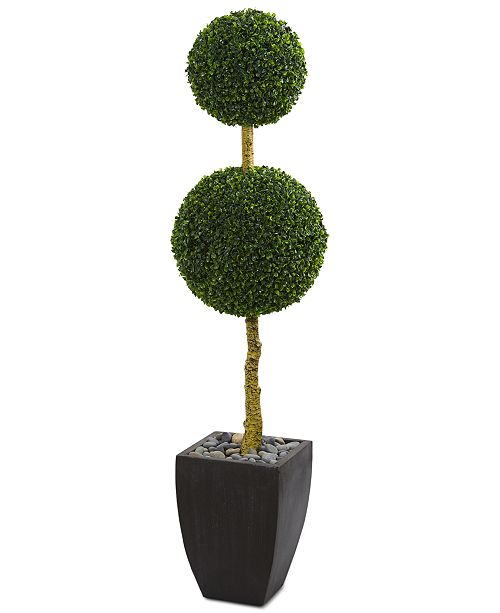 Nearly Natural 5' Double Ball Boxwood Topiary Artificial Tree in Black Wash Planter UV Resistant
