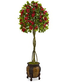 Nearly Natural 5.5' Bougainvillea Topiary Artificial Tree in Decorative Planter