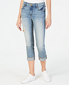 Kut from the Kloth Amy Cropped Straight-Leg Roll-Fray Jeans