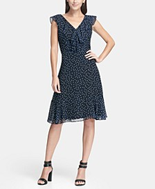 Ruffle Chiffon Polka Dot A-Line Dress