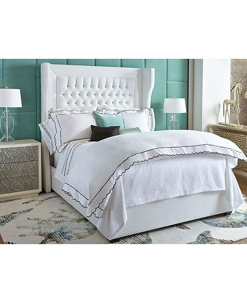 DownTown Company Embroidered Scallop Sheet Sets, Queen
