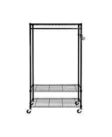 Oceanstar Garment Rack with Adjustable Shelves with Hooks