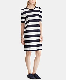 Lauren Ralph Lauren Striped Puff-Sleeve Dress