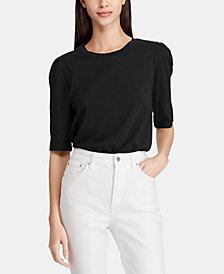 Lauren Ralph Lauren Puff-Sleeve Cotton Top