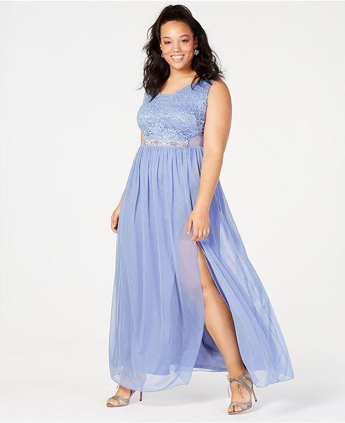 BCX Trendy Plus Size Sequined Lace & Chiffon Gown