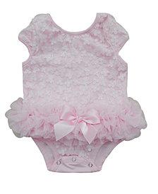 Baby Tutu Bodysuit Pink Flowers