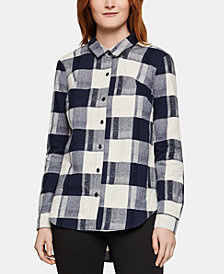 BCBGeneration Cotton Flannel Plaid Button-Front Shirt