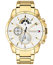 Tommy Hilfiger Men's Decker Gold-Tone Stainless Steel Bracelet Watch 46mm Created for Macy's