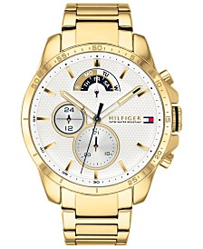 Tommy Hilfiger Men's Gold-Tone Stainless Steel Bracelet Watch 46mm Created for Macy's