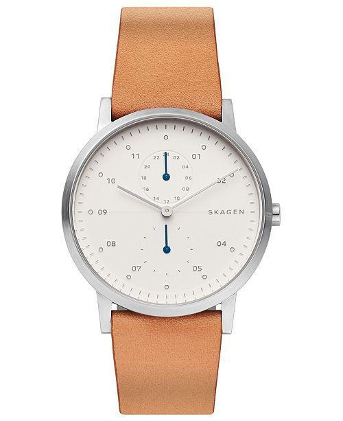 Skagen Men's Kristoffer Brown Leather Strap Watch 42mm