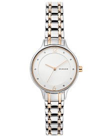 Skagen Women's Anita Two-tone Stainless Steel Rose Gold-Tone Stainless Steel Bracelet Watch 30mm