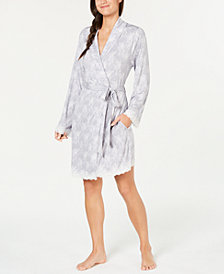 Charter Club Lace-Trimmed Knit Wrap Robe, Created for Macy's