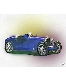"Dark Blue Roadster Illustration 20"" x 24"" Acrylic Wall Art Print"