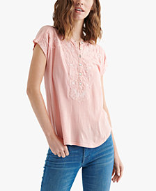 Lucky Brand Appliqué Henley Top