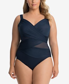 Miraclesuit Plus Size Mesh-Inset One-Piece Swimsuit