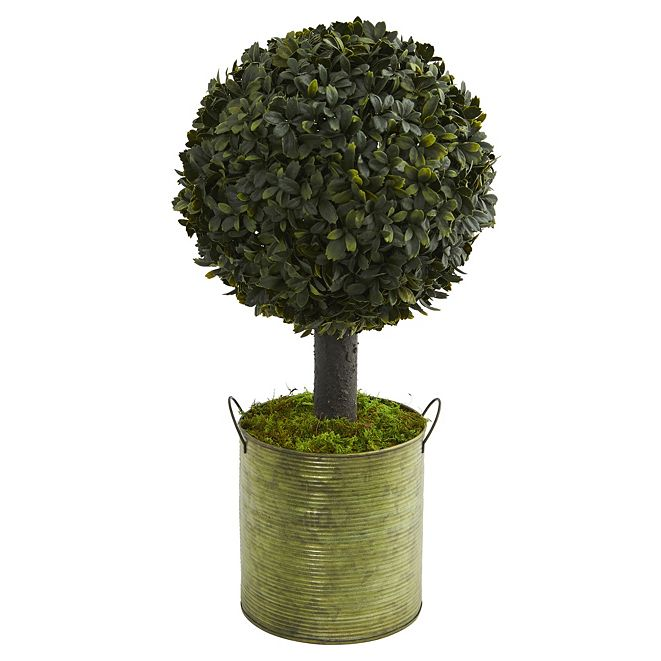 Nearly Natural 1.5' Boxwood Ball Topiary Artificial Tree in Green Tin