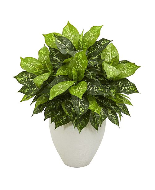 Nearly Natural Dieffenbachia Artificial Plant in White Planter