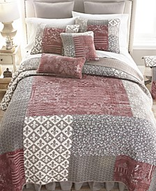 Fleur De Lis Cotton Quilt Collection, Queen
