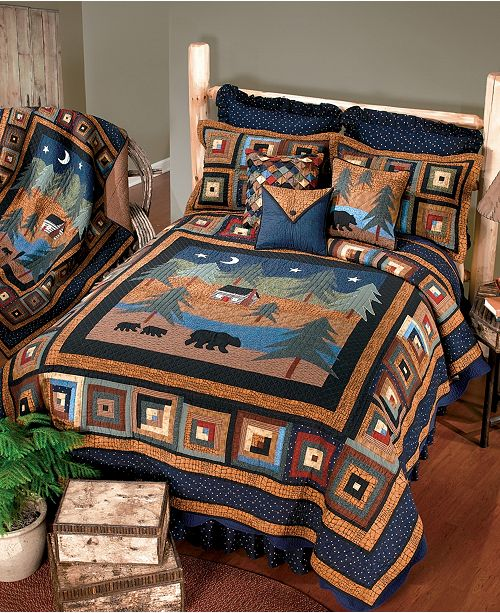 American Heritage Textiles Midnight Bear Cotton Quilt Collection, Queen