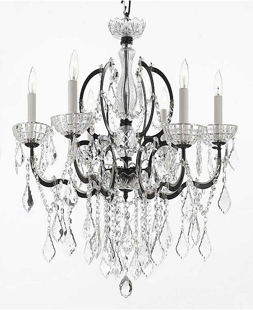Harrison Lane Versailles 6-Light Iron and Crystal Black Chandelier