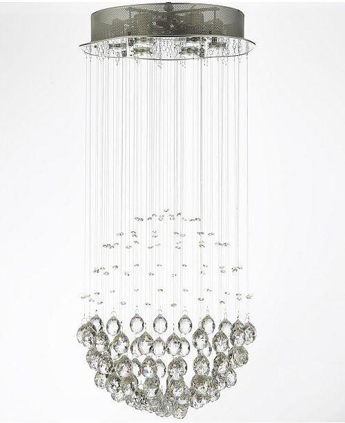 Harrison Lane Modern 6-Light Chrome Flushmount Crystal Raindrop Chandelier