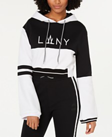 La La Anthony Cropped Colorblocked Hoodie