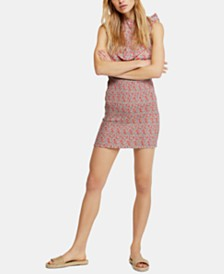 Free People I'm Your Favorite Cotton Printed Shirred Dress