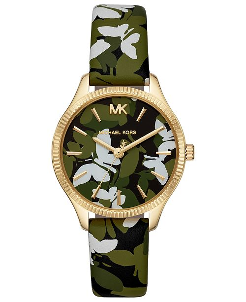 Michael Kors Women's Lexington Green Camo Butterfly Leather Strap Watch 36mm