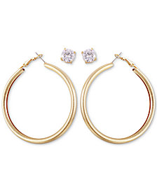 GUESS Gold-Tone Tubular Hoop & Crystal Stud Earrings Set